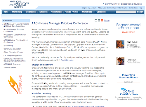 aacn nurse manager priorities conference