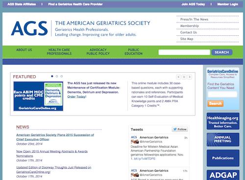 geriatric websites list