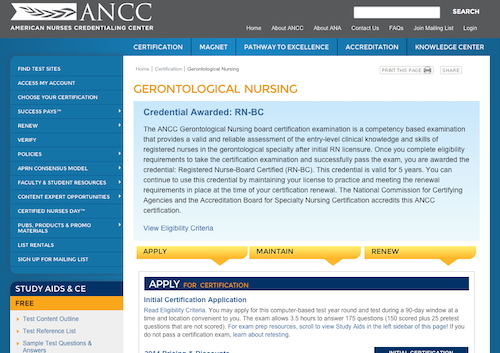 ancc gerontological nursing
