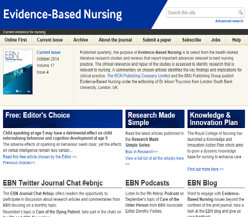 Evidence Based Practice Nursing Emergency Room