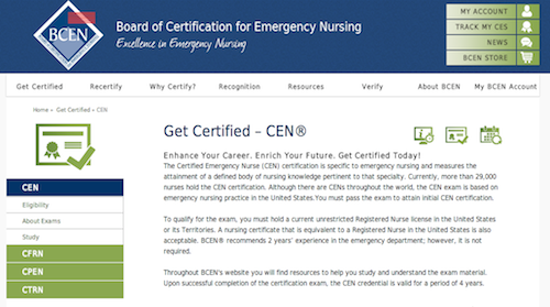 board cert emergency nursing