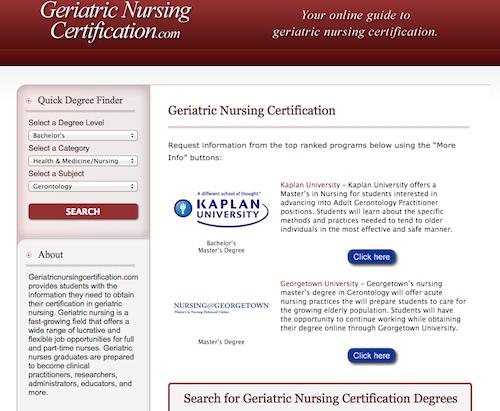 geriatric nurisng certificaiton