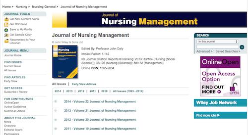 jou of nursing managemetn