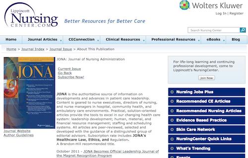 journal nursing admin