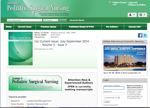 journal of ped surgical nurs